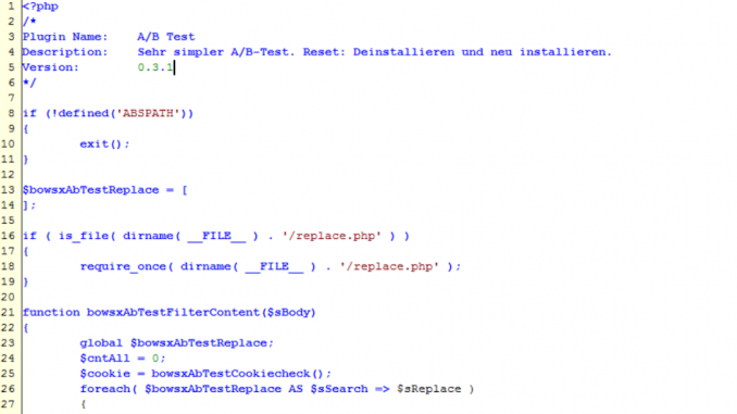 PHP Code für A/B Test